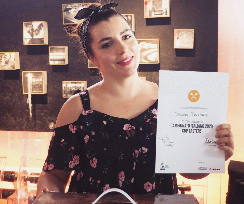 serena Falcitano is holding her Italian Cup Tasters Championship Certificate