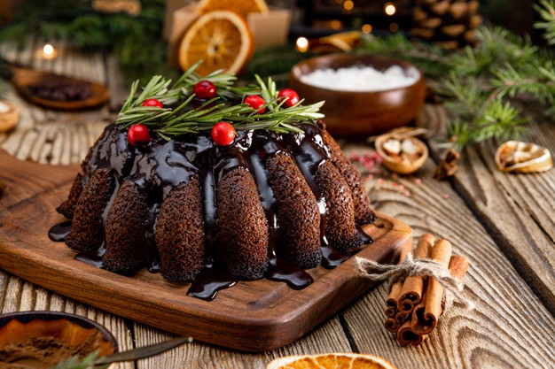 christmas chocolate cake wooden background close up 275899 530