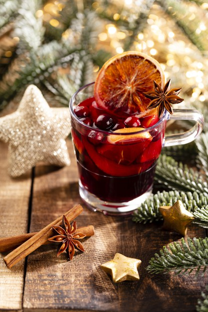 christmas mulled wine with spices wooden rustic table 120872 8231