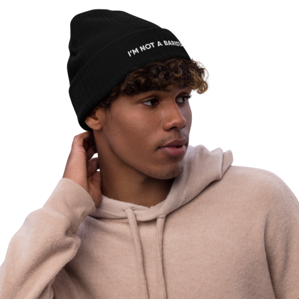 recycled cuffed beanie black front 614bc53794efe